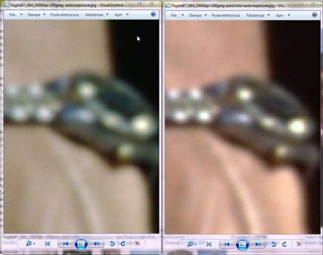Resolution comparison (zoom): scan at 5000 dpi (autoColor OFF) and 2500 dpi (autoColor ON)