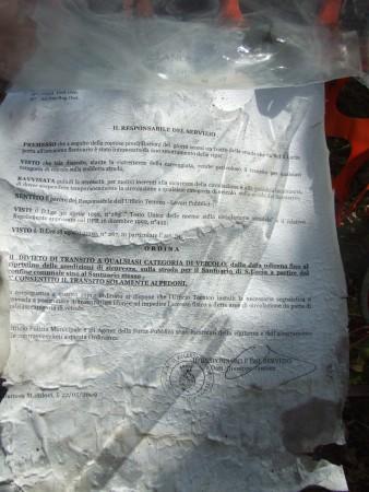 22/5/2009 - Ordinanza del Sindaco di Villanova: divieto di transito ai veicoli