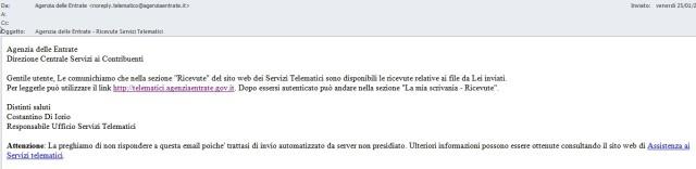 Email/SMS di notifica