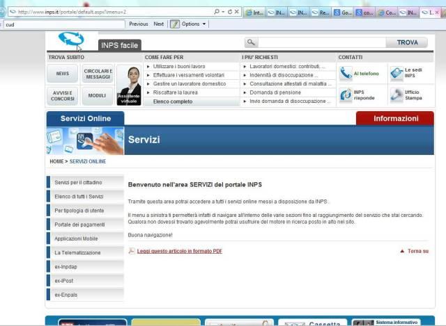 Come scaricare il cud dal sito dell inps enzo contini blog for Inps on line accedi ai servizi