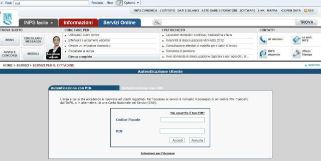 Autenticazione mediante codice fiscale e PIN