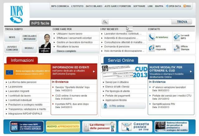 Homepage del sito dell'INPS