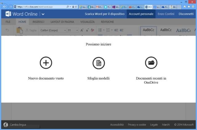 Esempio: lancio di Word Online