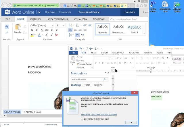 Condivisione tra Word Online e Word Desktop