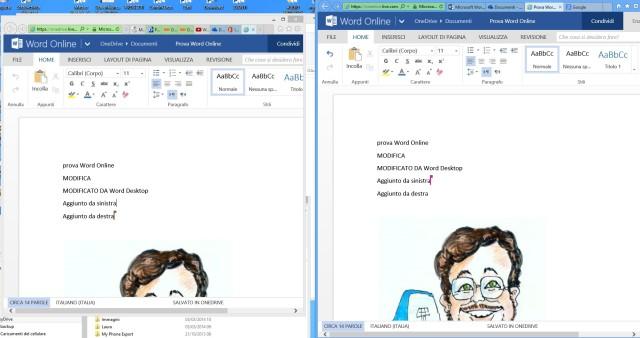 Modifica in realtime del testo da parte dell'utente 2 (browser a destra)