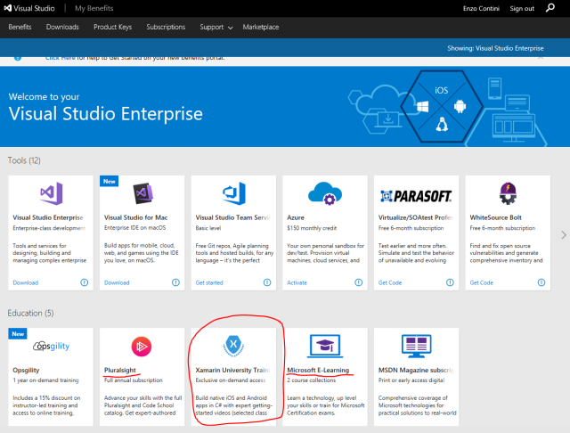 Visual Studio Subscriptions benefit: Xamarin University Training (exclusive on-demand access)