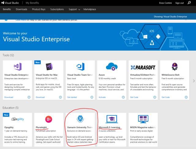 Visual Studio Subscriptions benefit: Xamarin University Training (exclusive on-demand access)