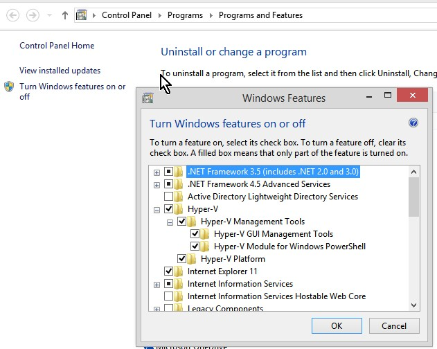 Turn on Hyper-V features