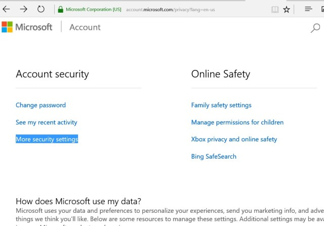 microsoft account -> Security settings