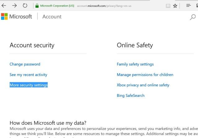 microsoft account -> Security settings