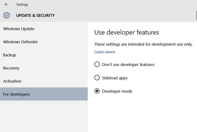 Sideload apps or Developer mode in the Settings -> For developer section
