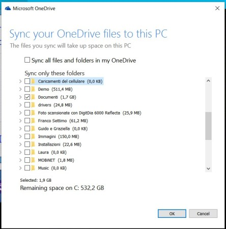 OneDrive - Folders to sync