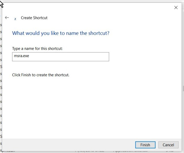 Create a shortcut for msra.exe (2)