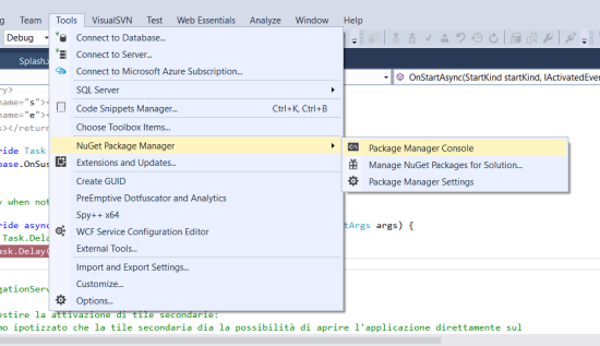 Launch Package Manager Console