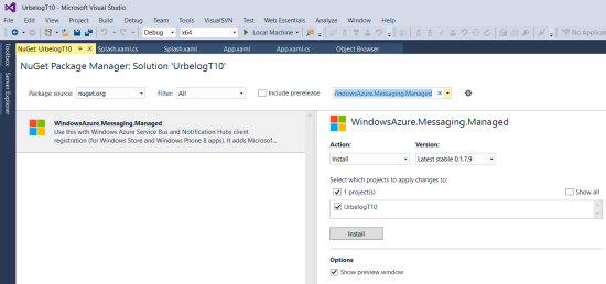 NuGet package WindowsAzure.Messaging.Managed