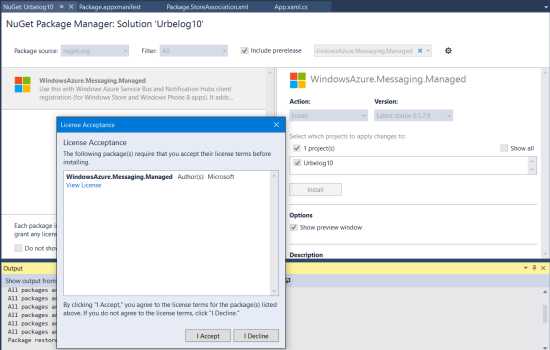 Add WindowsAzure.Messaging.Managed from NuGet