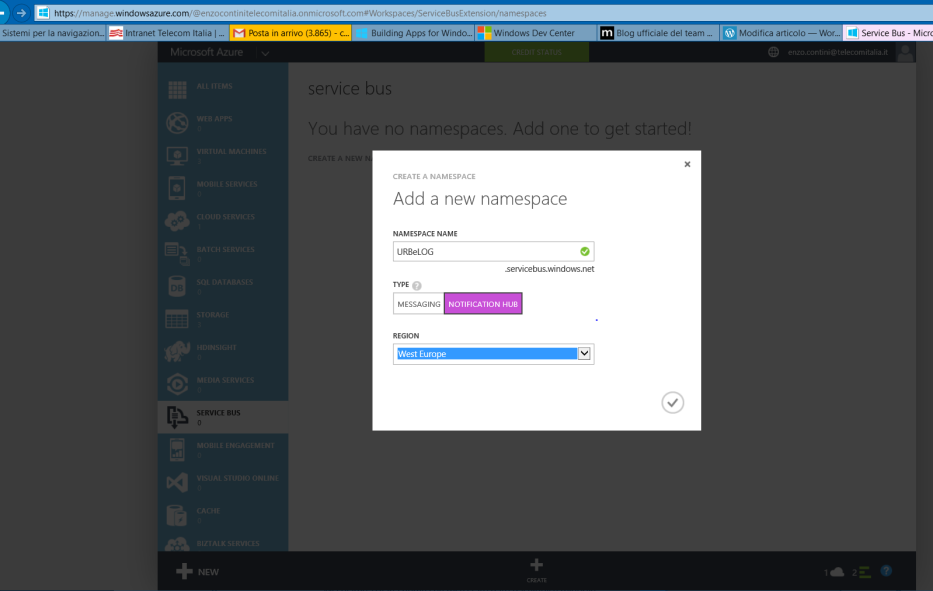 Creation of a new Azure <em>namespace</em> for containing one Notification Hub or more