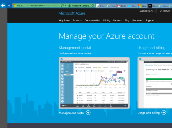Microsoft Azure -> My Account -> Management portal