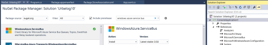 Backend: add in the reference WIndowsAzure.ServiceBus