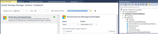 Client app: add in the reference WindowsAzure.Messaging.Manager