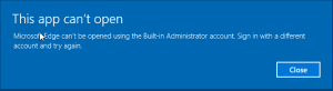 Edge not available for built-in administrator