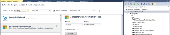 Backend: add in the reference <em>Microsoft.Azure.NotificationHubs</em>