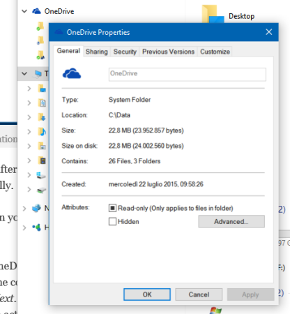 No Location tab for OneDrive folder
