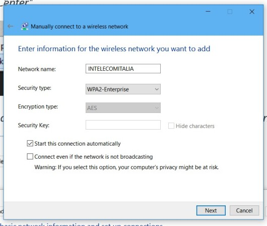 Manually connect to a wireless network (1)