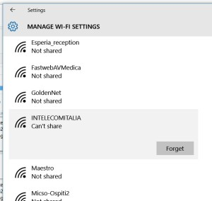 Let the PC forget the WIFI network if already not properly configured