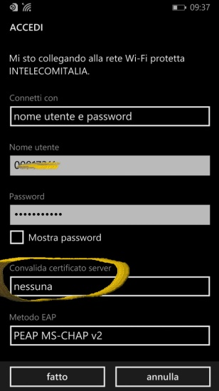 Set the <em>INTELECOMITALIA WiFi</em> on a <em>Windows Phone 8.1</em> device