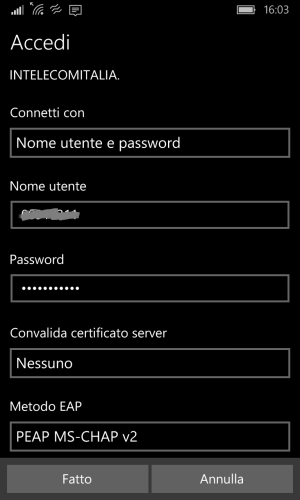 Set the <em>INTELECOMITALIA</em> WiFi on a <em>Windows 10 Mobile </em>device