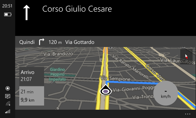 Maps: navigation (landscape mode)