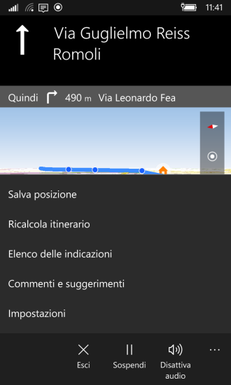 Maps: menu options during navigation