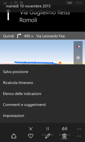 Maps: menu options during navigation - Settings (Impostazioni)