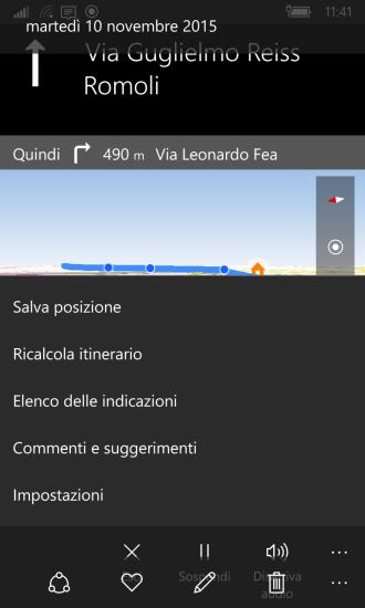 Maps: menu options during navigation - Settings (Impostazioni)