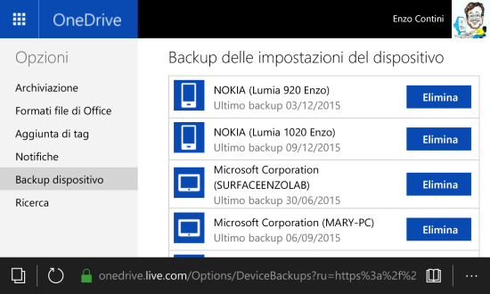 OneDrive - Devices backup