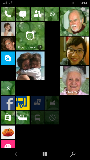 Contact live tile (now the old with squared picture and the new with a rounded picture ...