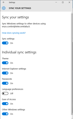 Settings ->Synch your settings