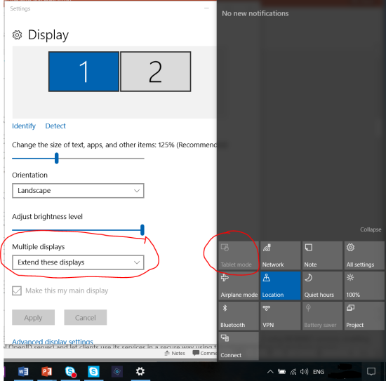 "Tablet mode button disabled whenever you have multiple displays set as ""Extend these display"""
