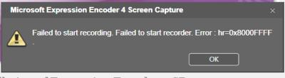 Error running <em>Expression Encoder 4</em> in a PC updated to <em>Windows 10 Pro Insider Preview build 14257 release 160131-1800</em>
