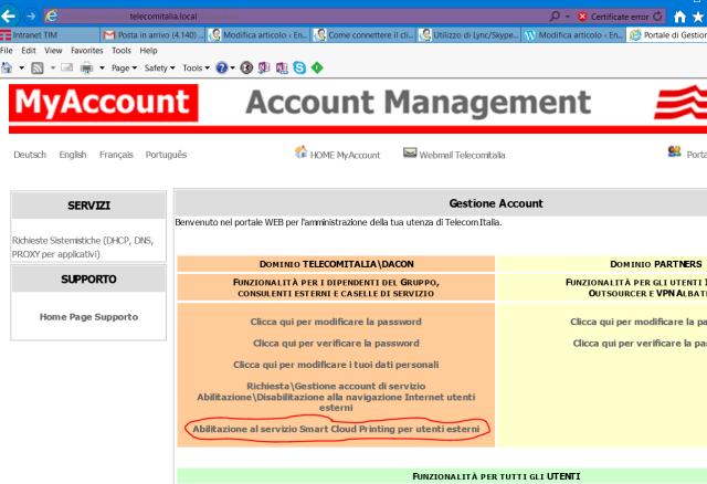Link per la richiesta di Abilitazione al servizio Smart Cloud Printing per utenti esterni