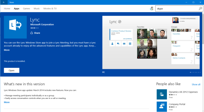 App Lync nello Store di Windows (PC)