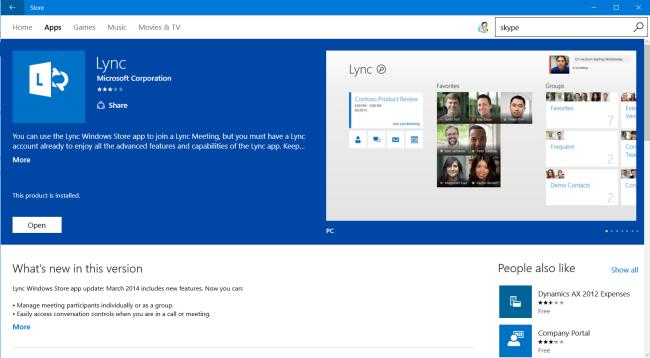 App Lync nello Store di Windows (PC)