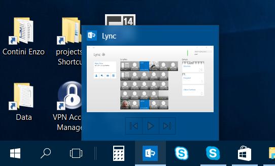 Pin dell'app Lync nella taskbar