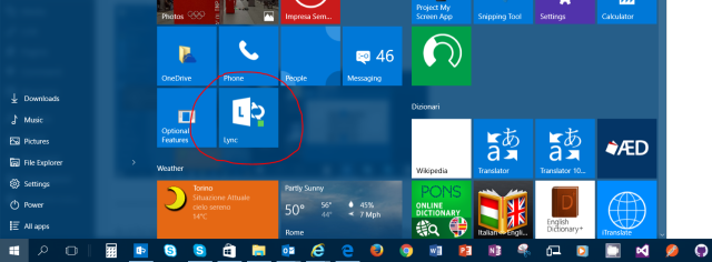 Pin dell'app Lync nella pagina di Start