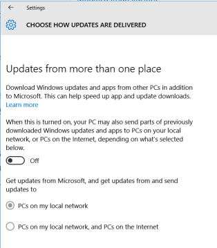 Settings -> Update & Security -> Windows update - Advanced Options - Choose how updates are delivered