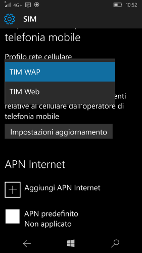 Two possible TIM mobile network profiles available