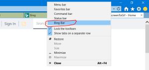 Nascondere/visualizzare la Bing Toolbar