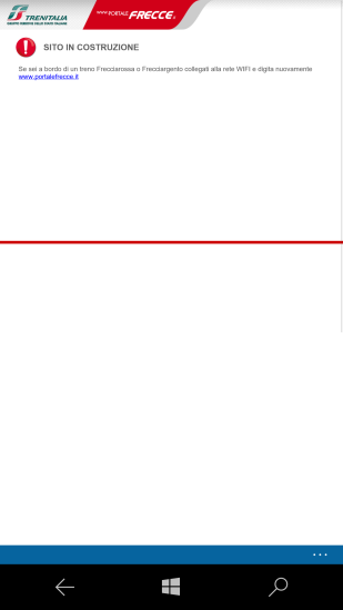 """""""SITO IN COSTRUZIONE"""", - Mancando la autenticazione al Wi-Fi e l'accesso al portale tramite il medesimo, si cercava di accedere al porale """"dall'esterno"""", vale a dire tramite la connessione dati GSM"""