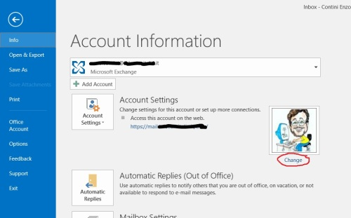 File -> Account Information - Change photo